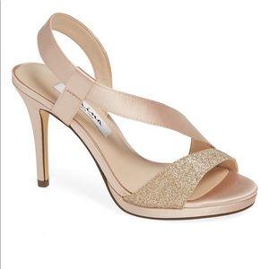 New Nina Robins Sand Satin Evening Shoe 8.5